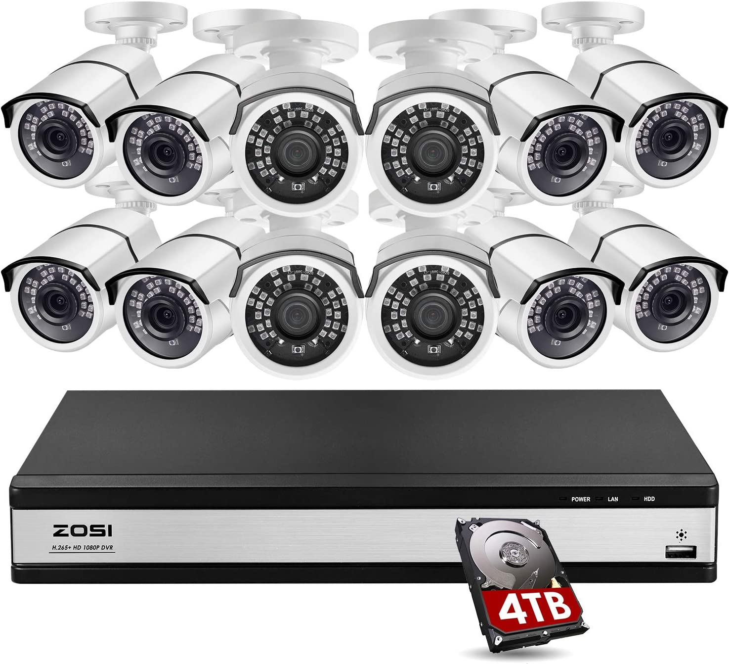 ZOSI H.265+ 1080p 16 Channel Security Camera System for Home,16 Channel DVR with Hard Drive 4TB and 12 x 1080p Surveillance Camera Outdoor Indoor with 120ft Night Vision,105°Wide Angle, Remote Access