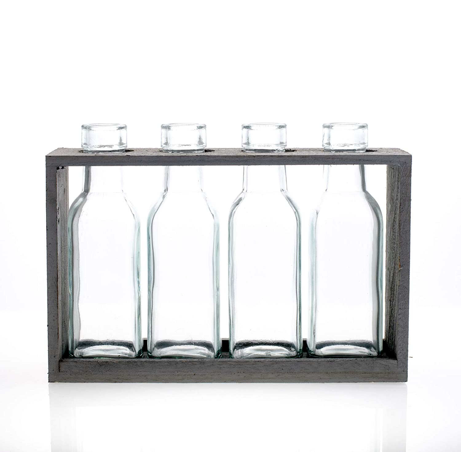 Sullivans 4 Glass Bottles in Wood Crate Display Grey Clear 9 x 2 x 7 Clear 9 x 2 x 7 G6584