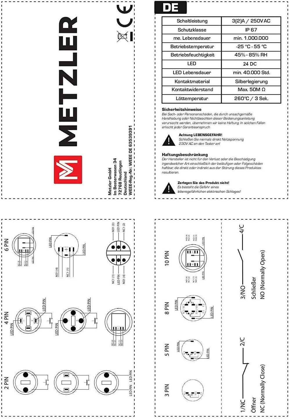 12 X PILOT LED 230V VAC 4 FARBEN 10,5 MM Ø 20 CM VON KABEL