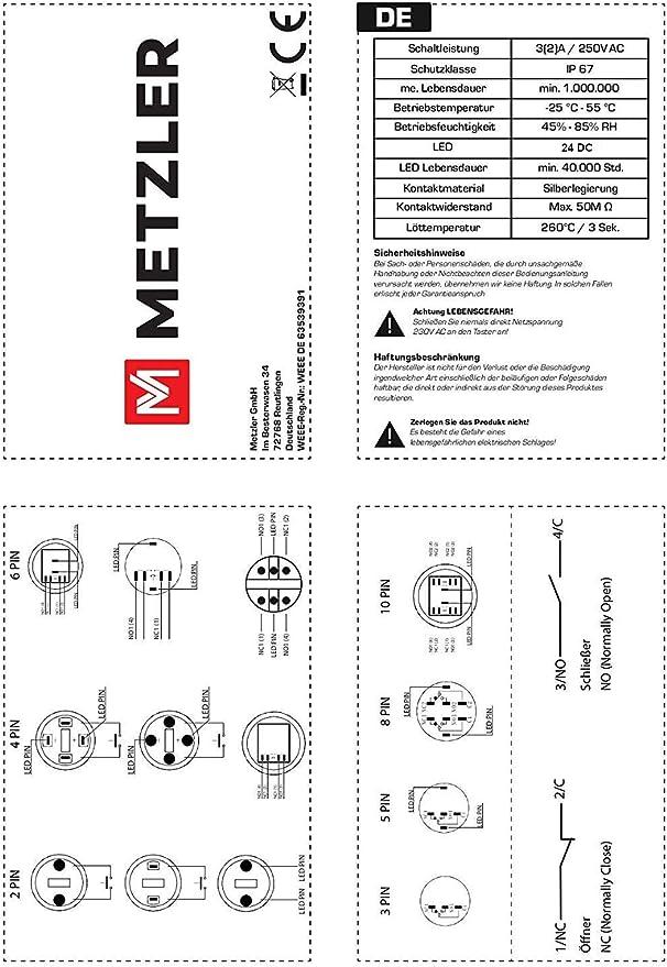 Drucktaster Klingeltaster Led Beleuchtung Einbau 19mm Edelstahl V2a Flache Tastfläche Wasserdicht Schraubkontakte Ac Dc Erhaben Ohne Led Auto