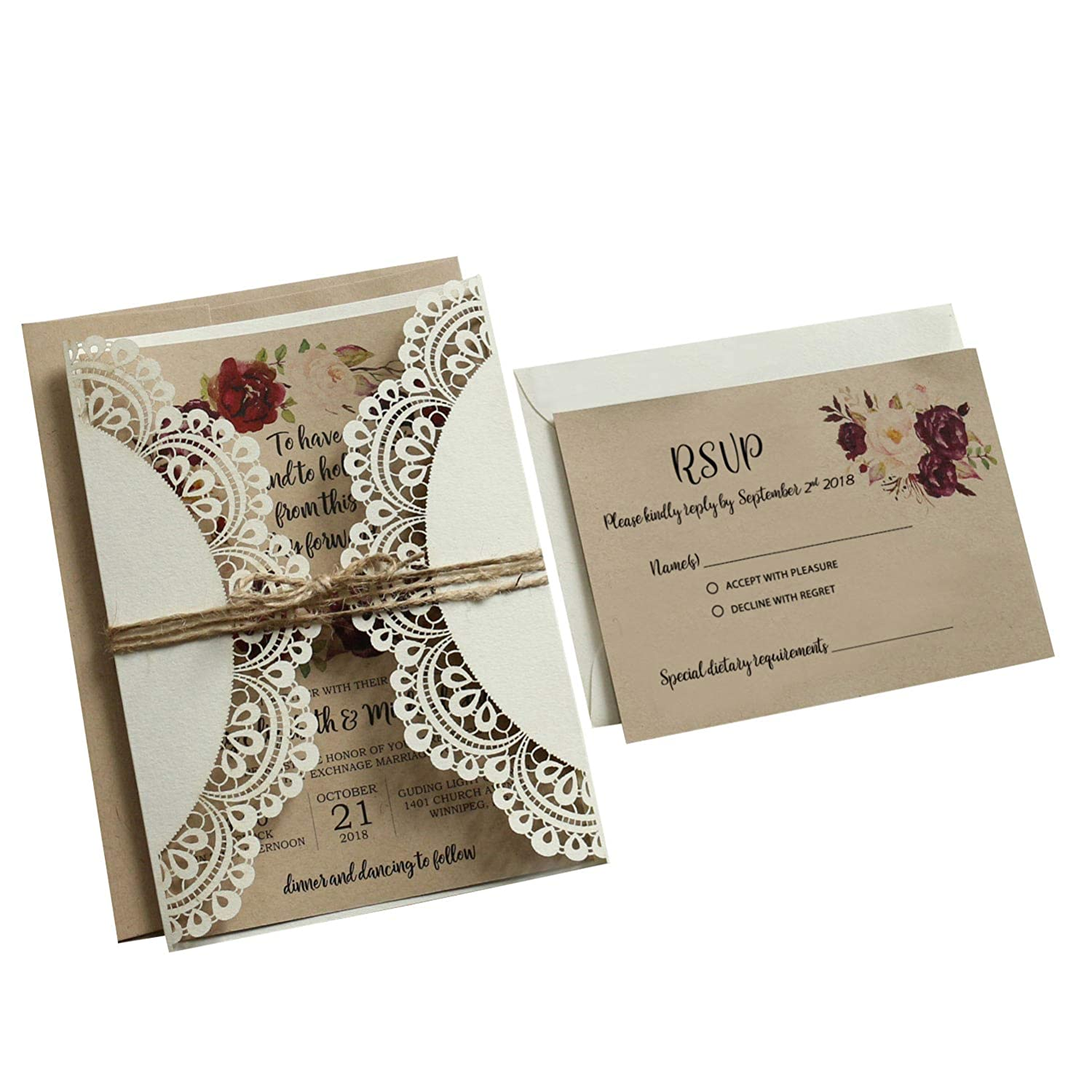 11d2a36fbc709 Wedding Invitations with RSVP Cards and Envelopes Rustic Invitations for  Wedding by Picky Bride 2...