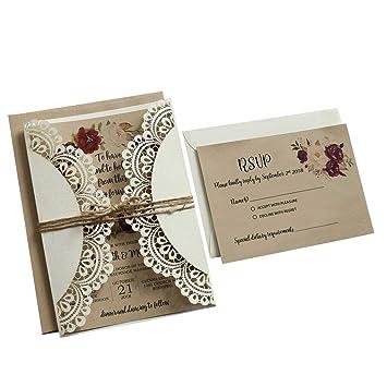 Amazon Com Off White Rustic Wedding Invitations Kraft Paper