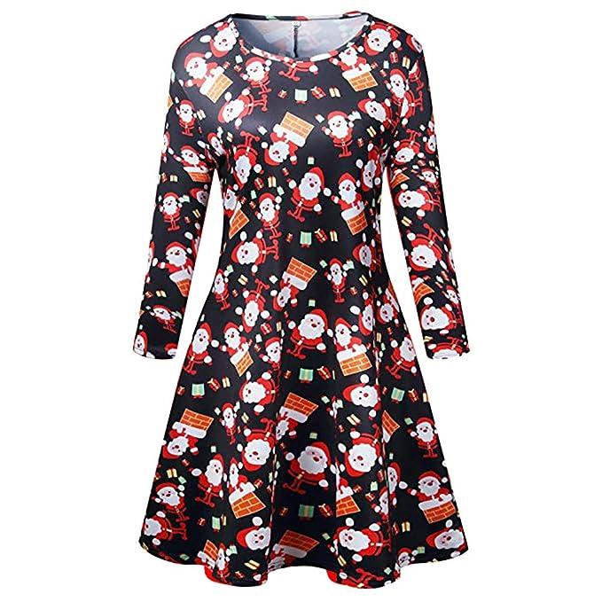8af1bc65b49f3 Amazon.com: Orange Christmas Dresses for Women, Santa Printed ...