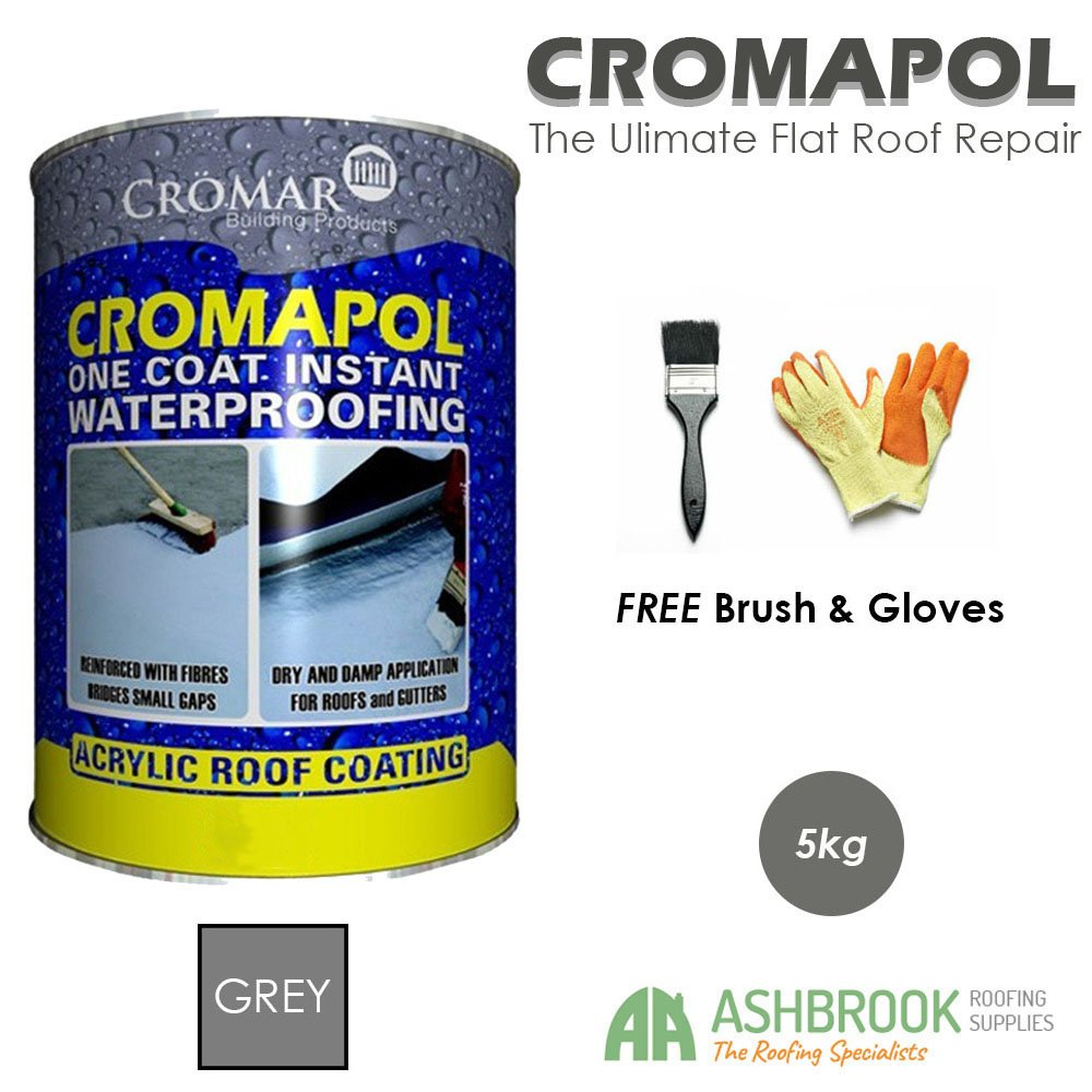 Cromapol | Acrylic Roof Coat | Waterproofing Roof Sealant | Three Sizes | Four Colours | Free Brush & Gloves (Small, Grey) Cromar