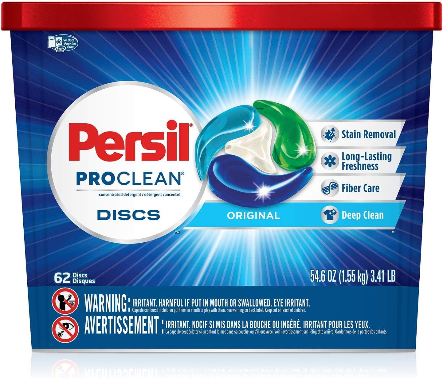 Persil Proclean Discs Laundry Detergent, Original, 62 Count
