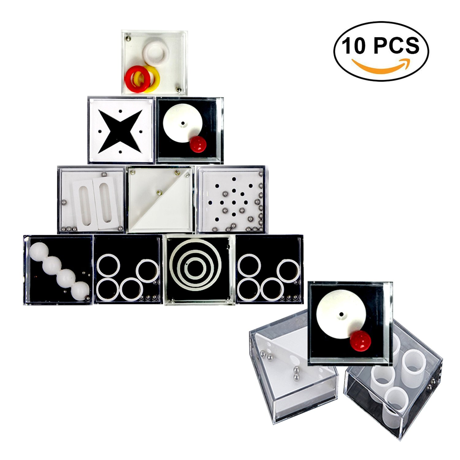 Fidget Puzzle Boxes Mini Brain Teaser, DOCA Decompression Game Box Banlance Puzzle Box for Kids and Adults - Intelligence Development,Stress Relief & Relax -10Pcs Easy Level