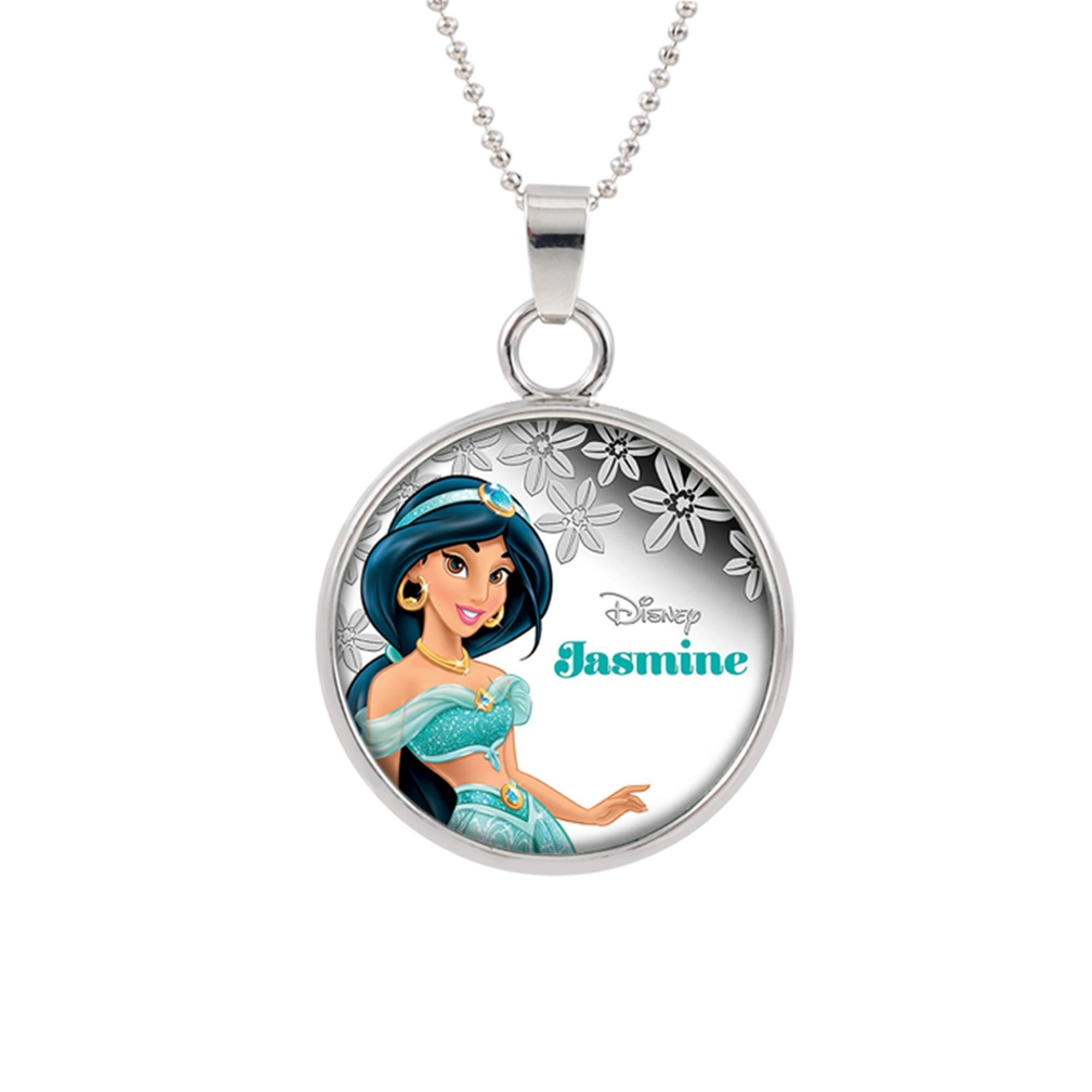 Aladdin Jasmine Disney Pendant Necklace TV Movies Classic Cartoons Superhero Logo Theme Princess Premium Quality Detailed Cosplay Jewelry Gift Series