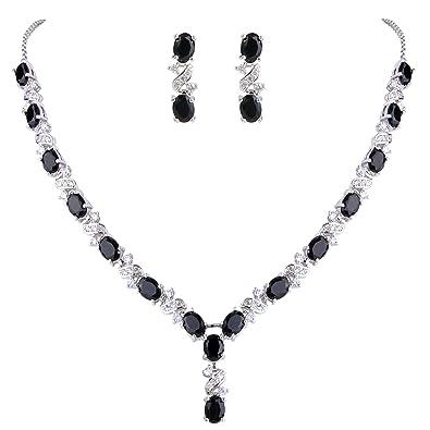 Clearine Women's Fashion Wedding Bride Crystal Infinity Figure 8 Teardrop Y-Necklace Dangle Earrings Set c8NbW