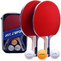 Joy.J Sets de Ping Pong, 2 Raquetas de Ping Pong + 3 Pelotas + 1 Bolsa, Profesionales Palas Ping Pong, Cómodo Mango…