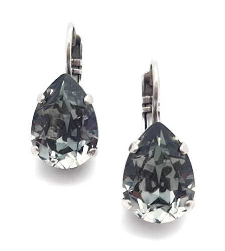 939c3b803 Image Unavailable. Image not available for. Color: Mariana Swarovski Crystal  Silvertone Plated Earrings Teardrop Cut Dark Grey 215
