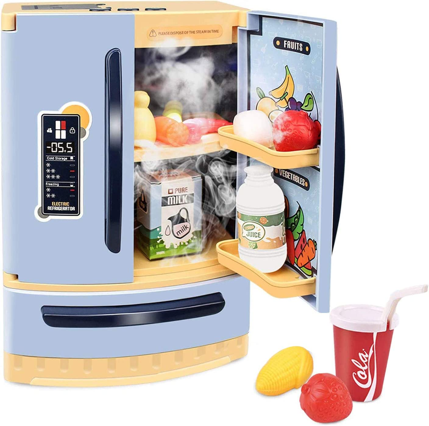 GrowthPic Kids Kitchen Toy Refrigerator, Pretend Play Mini Kitchen Set with Music and Spraying Function, Play Food Accessories for Toddlers, Boys and Girls