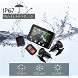 Vsysto Motorcycle Dash Cam, Dual 1080P Camera, 4.5-inch 170 ° Front and Rear Wide-Angle Lens, with WiFi, GPS, Wireless Controller, Screen Voltage Show, Mountain Bike Camera Handlebar+64GB Card