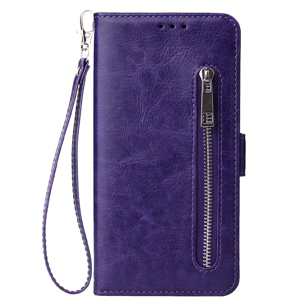 WIWJ Kompatibel mit Samsung Galaxy A50 H/ülle Rei/ßverschluss Lederh/ülle Wallet Handyh/ülle Klapph/ülle Ultra Slim Flip Case Stand Schutzh/ülle 360 Grad Bumper Tasche-Rose Gold