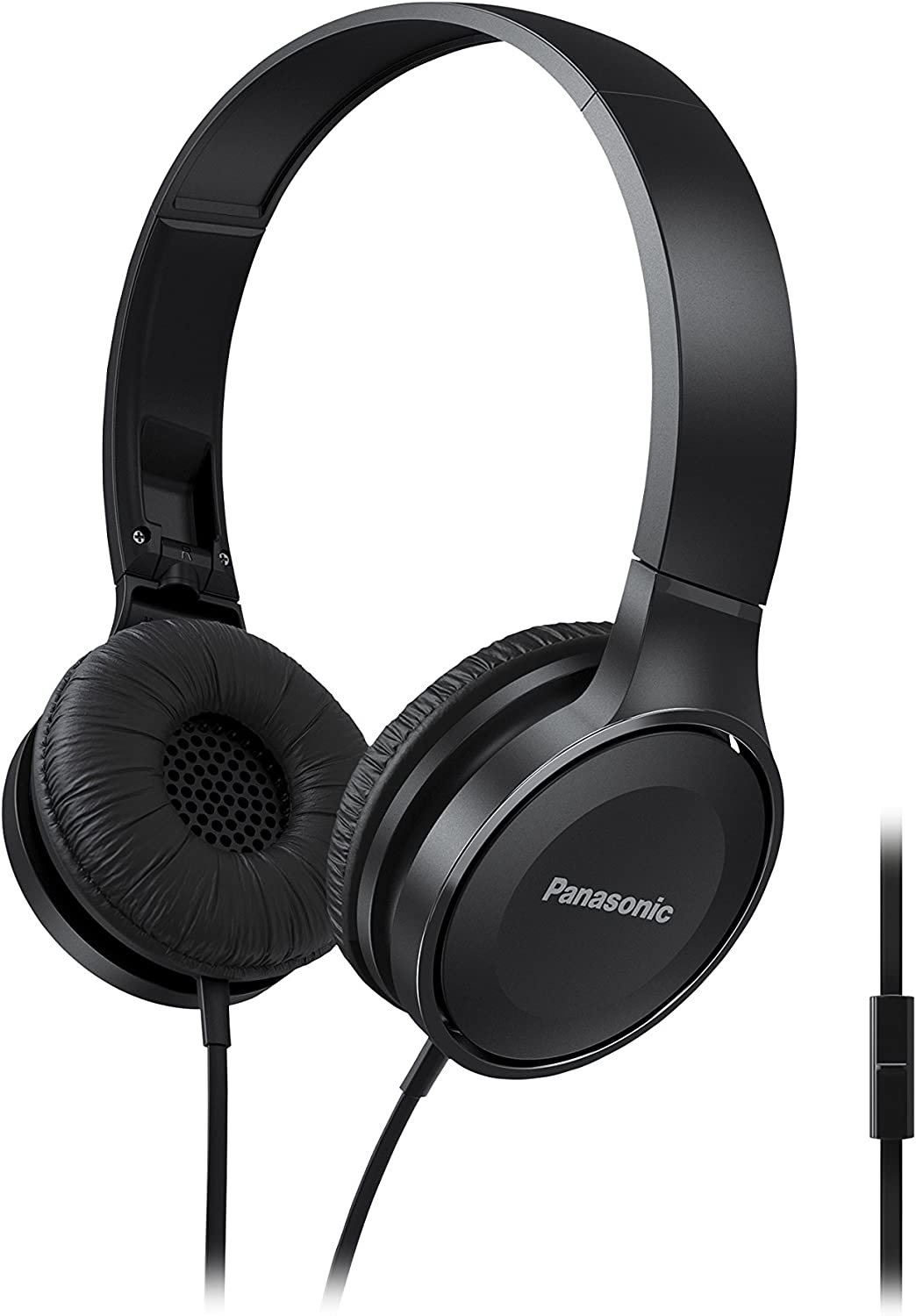 PANASONIC Lightweight Foldable Headphones with Microphone, Call Controller and 3.9 ft Audio Cord Compatible with iPhone, BlackBerry, Android - RP-HF100M-K - On-Ear Headphones (Black)
