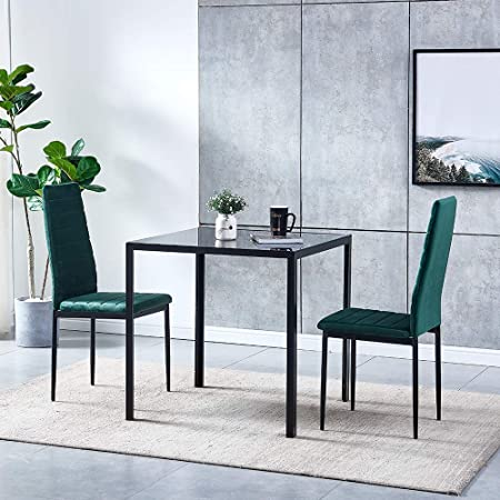 Small Dining Table Set For 4, Ansley Hosho Glass Dining Room Table With 2 Green Velvet Dining Chairs Contemporary 3 Pieces Small Kitchen Set Black Square Table With 2 Upholstered Velvet Chairs Set For Compact Apartment Dinette Amazon Co Uk Kitchen