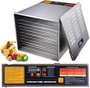 Stainless Steel 10-Tray Racks Commercial Electric Food Dehydrator Machine Jerky Fruit Herb Industrial Grade 16 Square Feet 15 Hours 1200W 110V