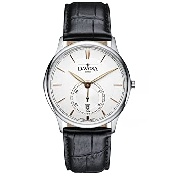 Davosa Swiss Made Quartz Watch - Analog Battery Movement Professional Wrist Watch Flatline with Genuine Leather