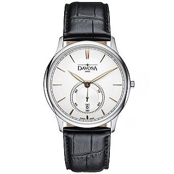 Davosa Swiss Made Quartz Watch - Analog Battery Movement Professional Wrist Watch Flatline with Genuine Leather