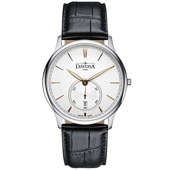 Amazon.com: Davosa Swiss Made Quartz Watch - Analog Battery Movement Professional Wrist Watch Flatline with Genuine Leather Strap Band (16248365): Watches
