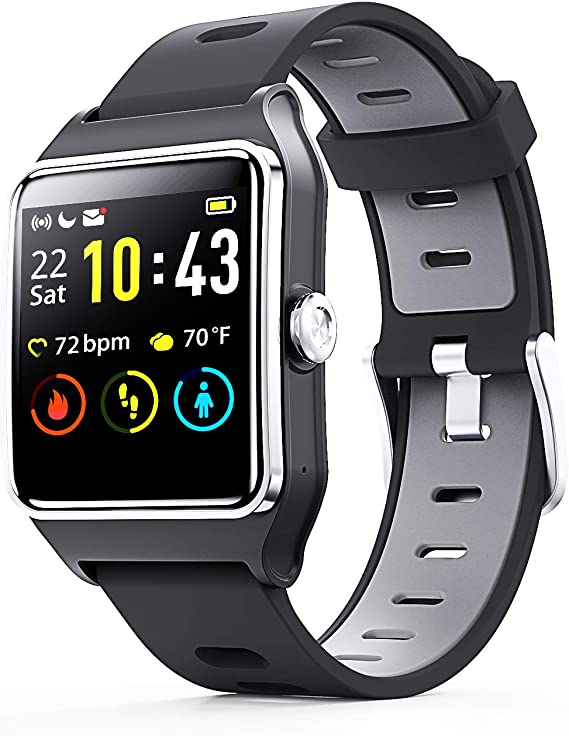 ENACFIRE Smart Watch W2 GPS Smartwatch IP68 Waterproof Fitness Tracker, Heart Rate Monitor, Sleep Tracker, Step Counter, Activity Watches for Men, ...