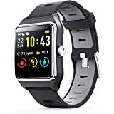 ENACFIRE Smart Watch W2 GPS Smartwatch IP68 Waterproof Fitness Tracker, Heart Rate Monitor, Sleep Tracker, Step Counter, Activity Watches for Men, Women, Compatible with Android iOS Phone