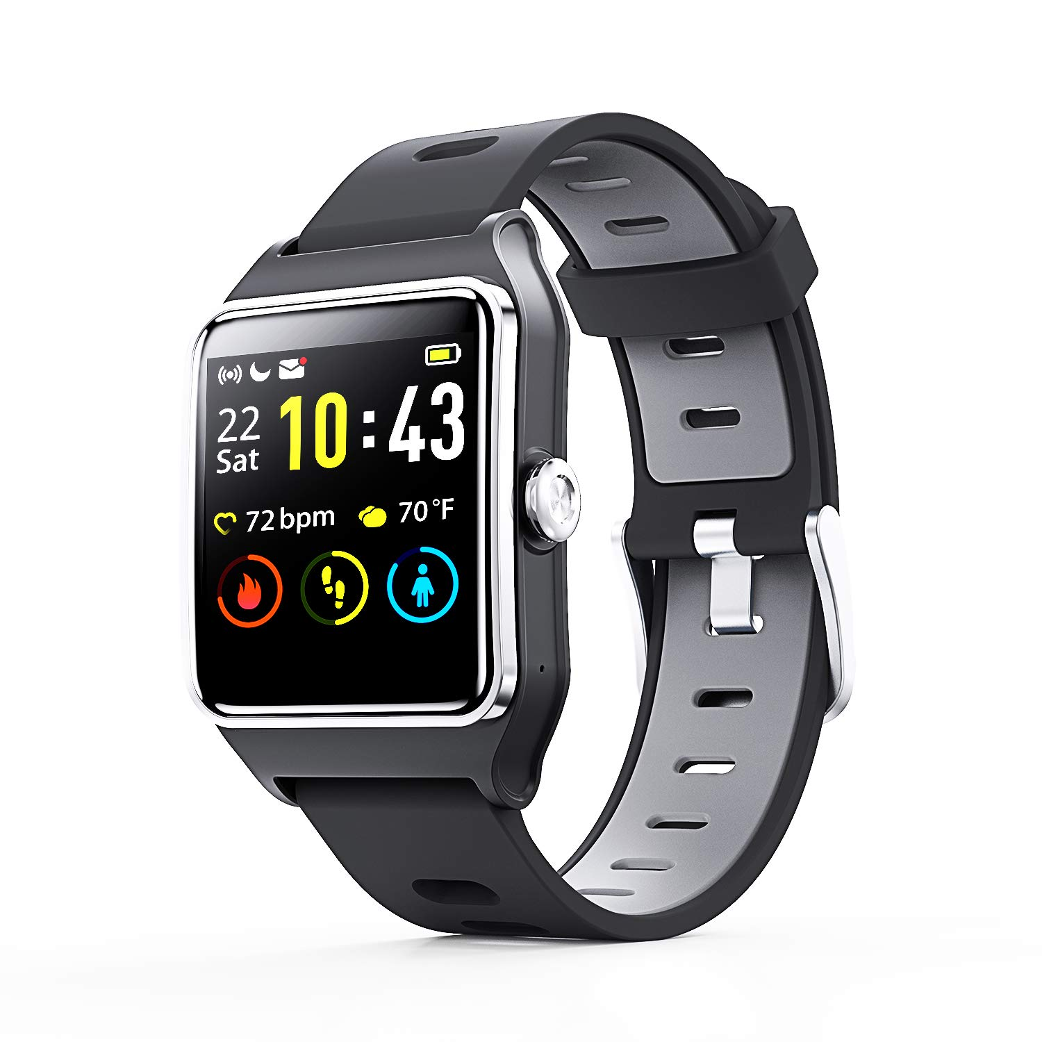 Smart Watch - ENACFIRE W2 GPS Fitness Tracker IP68 Waterproof Smartwatch, Heart Rate Monitor, Sleep Tracker, Step Counter, Activity Watches for Men, ...