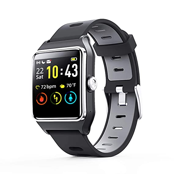 Smart Watch - ENACFIRE W2 IP68 Waterproof Fitness Tracker Smartwatch with GPS, Heart Rate Monitor, Sleep Tracker, Step Counter, Activity Watches for ...