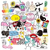 Stickers for Water Bottles, Trendy Cute Waterproof Aesthetic Vinyl Graffiti Stickers - Laptop and Water Bottle Decals Sticker Pack for Girls Teens Women (46 Pack)