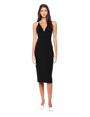 19213e4eaf9 Dress the Population Women s Lyla Plunging Sleeveless Fitted Midi Sheath  Dress