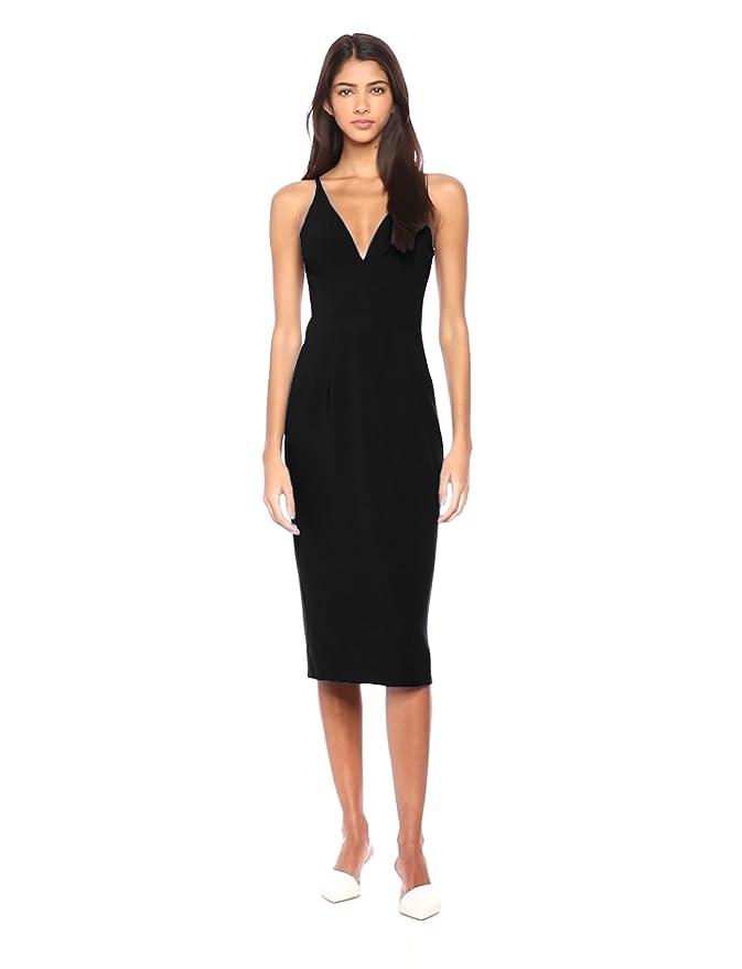 cd6fac52f0e Dress the Population Women s Lyla Plunging Sleeveless Fitted Midi Sheath  Dress at Amazon Women s Clothing store