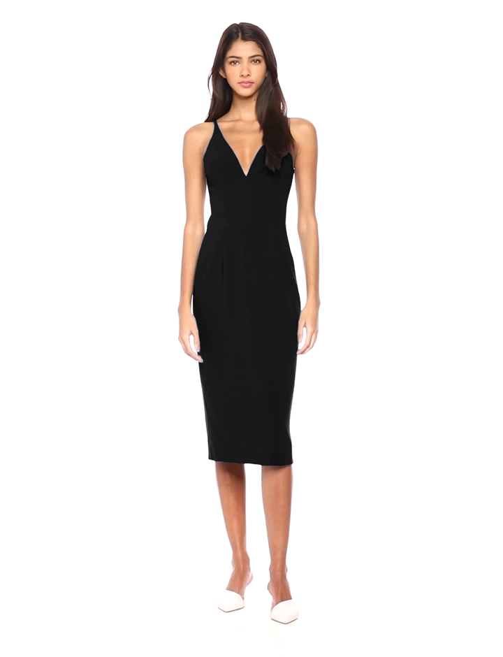 6ca8f39715ec Dress the Population Women's Lyla Plunging Sleeveless Fitted Midi Sheath  Dress at Amazon Women's Clothing store: