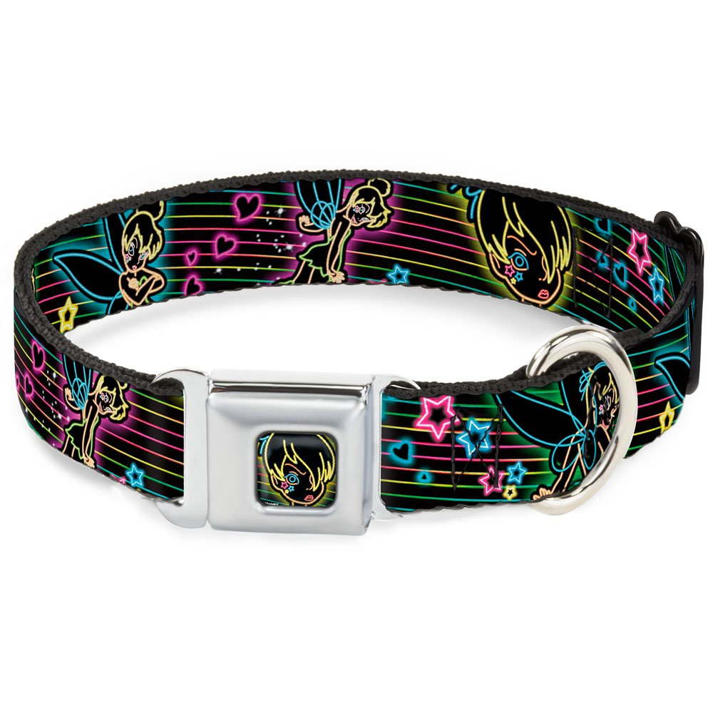 Buckle-Down Seatbelt Buckle Dog Collar Electric Tinkerbell Poses Stripes Black Multi Neon 1.5  Wide Fits 18-32  Neck Large