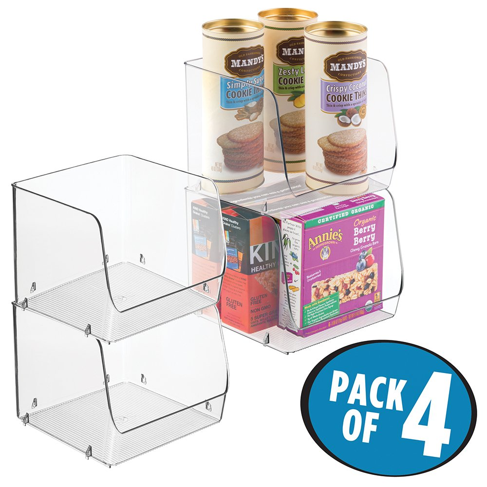 mDesign Stacking Organizer Bins for Kitchen, Pantry - Pack of 4, Large, Clear by mDesign
