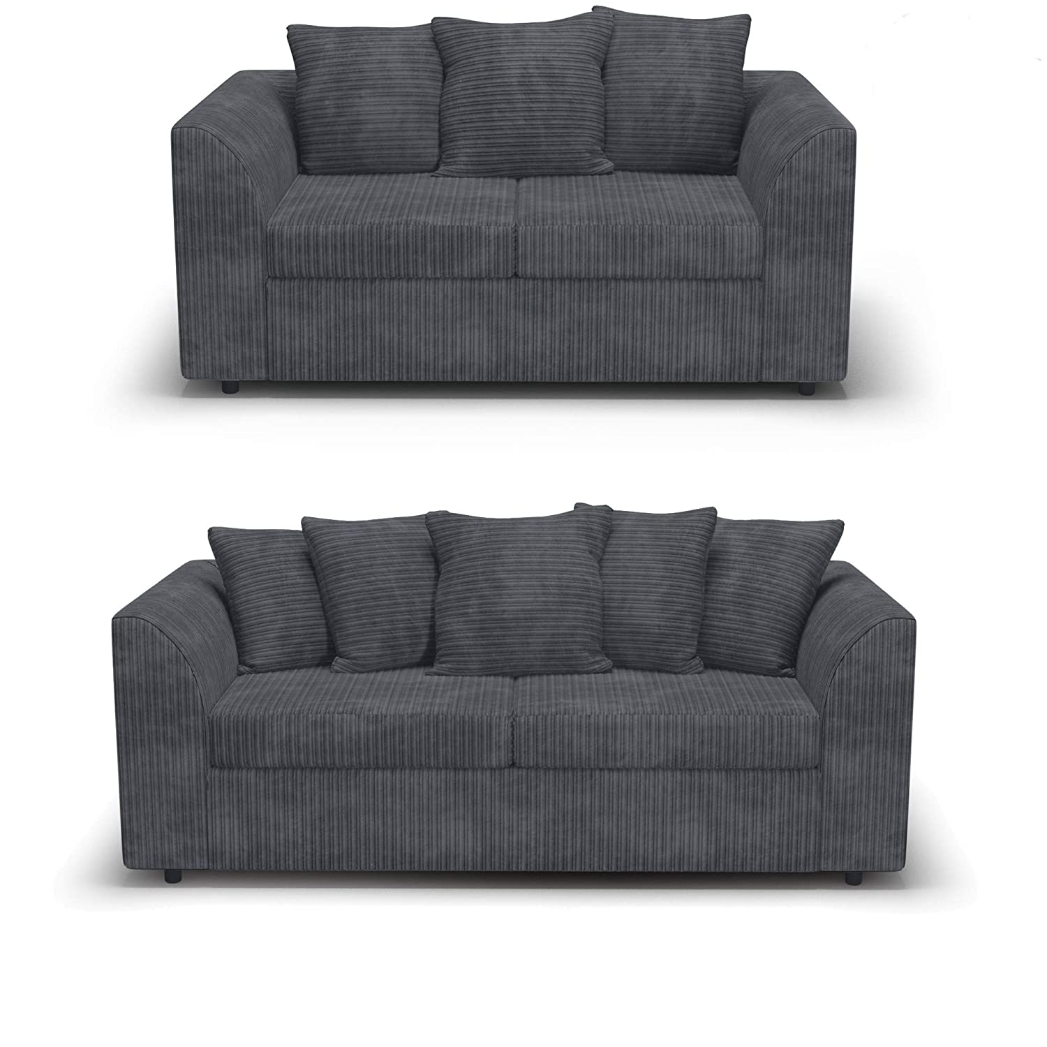 Amazon.com : Dylan Byron Grey Fabric Jumbo Cord Sofa Settee ...