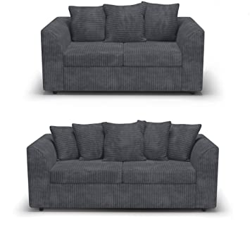 Sensational Red Fern Grey Fabric Jumbo Cord Sofa Settee Couch 3 2 Seater Pabps2019 Chair Design Images Pabps2019Com
