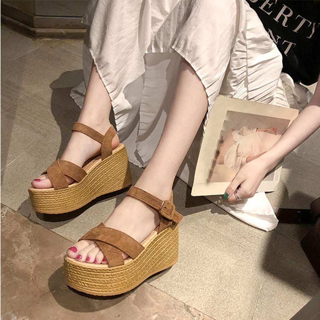 Sandals NEEKEY High Heel Sandal Clear-Summer Fashion Casual Wedges Open Toe Flats