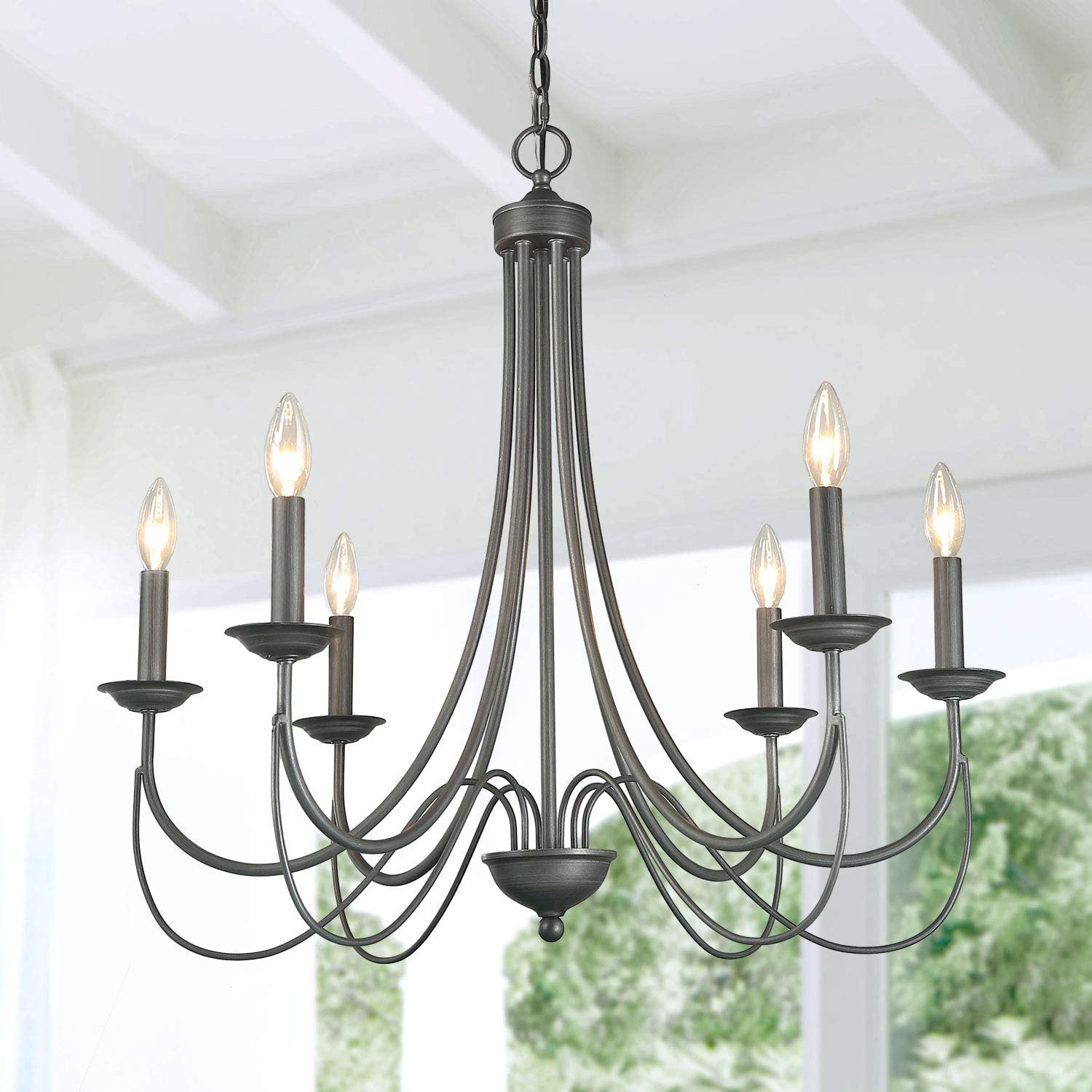 Log Barn French Country Chandelier Modern Farmhouse Lighting Style In Brushed Rustic Dark Grey Kitchen Island Pendant For Dining Room Bedroom Amazon Com
