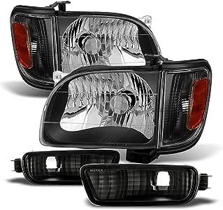 ACANII - For 2001-2004 Toyota Tacoma Headlights+Corner Signal 6Pcs Blk Lamps+Bumper Light Driver + Passenger Side