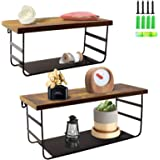 2 Tier Wall Mounted Shelf Set of 2, Wall Floating Shelves with Black Metal for Bathroom, Bedroom, Living Room, Laundry Room,