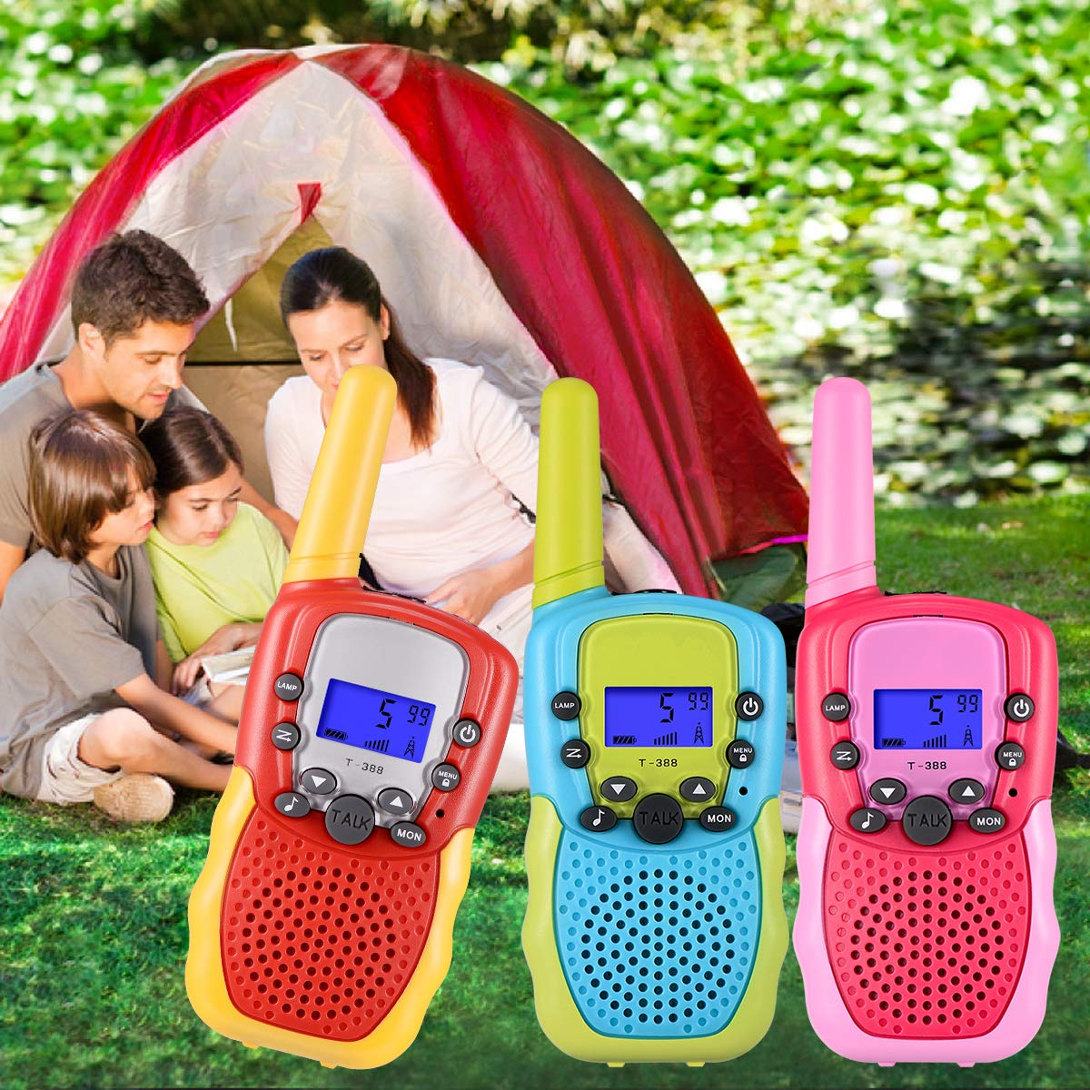 SnowCinda 3 Pack Walkie Talkies for Kids , 22 Channels 2 Way Radio Toy with Backlit LCD Flashlight, 3 Miles Range for Outside Adventures, Camping, Hiking, Toys for 3-12 Years Old Boys or Girls by SnowCinda (Image #6)