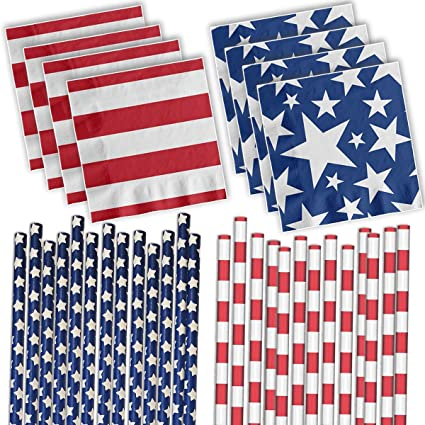 Independence Day Patriotic Napkins American Flag Napkins Red White and Blue Size 5 x 5 4th of July Napkins 24 Flag Paper Napkins