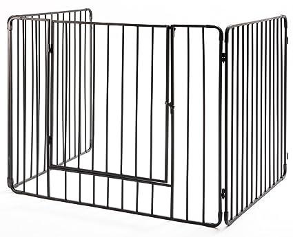 Pantalla protectora para estufa o chimenea con puerta delantera y barras verticales de alta calidad (