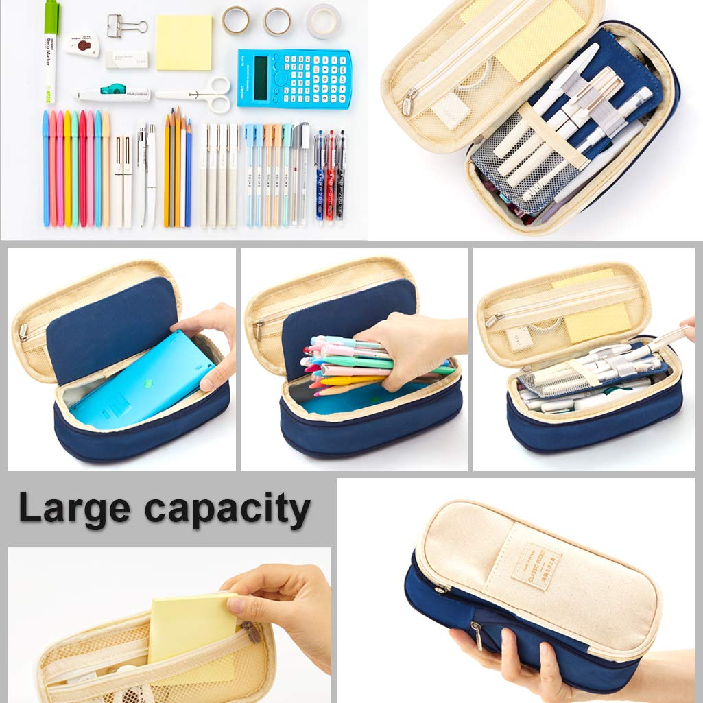 EASTHILL Big Capacity Pencil Pen Case Office College School Large Storage High Capacity Bag Pouch Holder Box Organizer Blue New Arrival