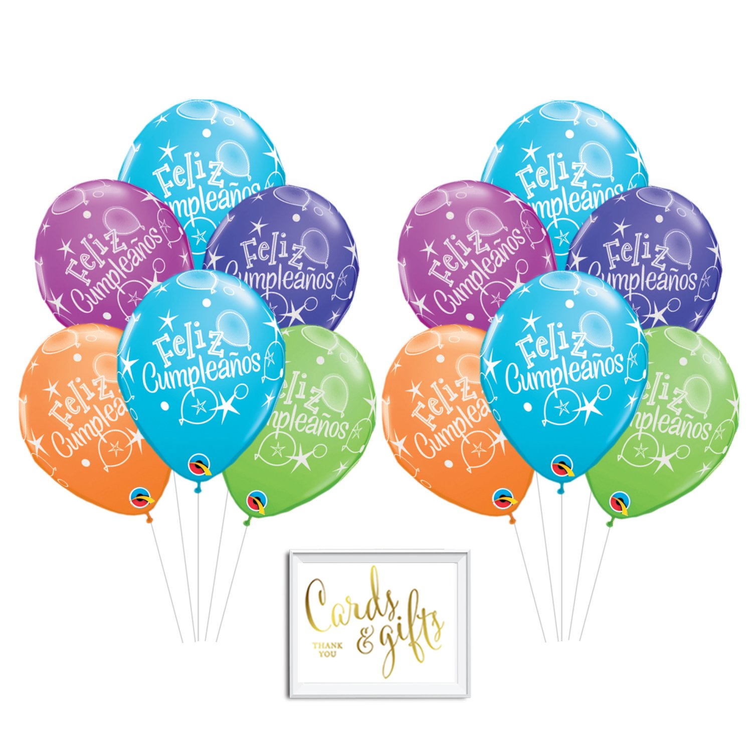 Andaz Press Bulk High Quality Latex Balloon Party Kit with Gold Cards & Gifts Sign, Feliz Cumpleaños...