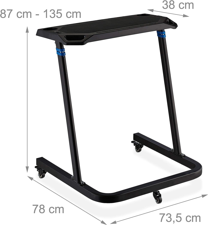 Relaxdays Multifunktionspult h/öhenverstellbar Fahrradtisch Laptoptisch mit Rollen H/öhe: 87-135 cm Stehpult schwarz