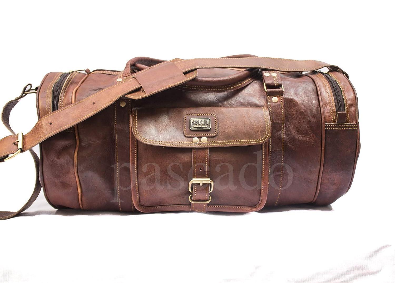 PASCADO leather luggage duffle overnight gym travel barrel bag Handmade 20 inch vintage genuine
