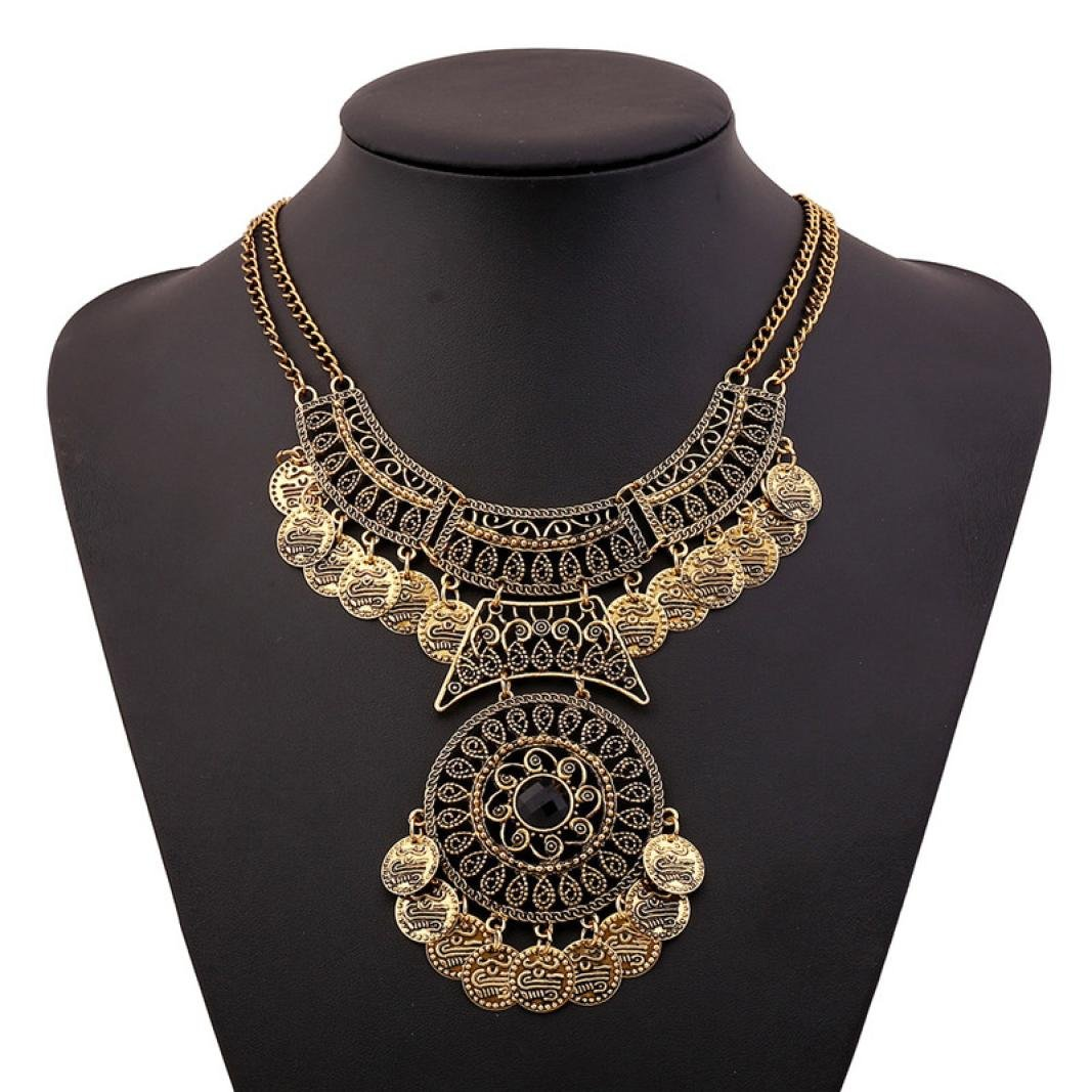 Sinfu Bohemian Necklace Women Fashion Bohemian Festival Jewelry Double Chain Coin Statement Necklace (Gold) Sinfu®
