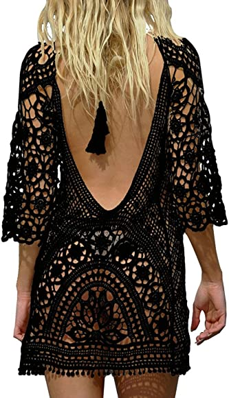 cc00a69ed PINKMILLY Women's Bathing Suit Beach Cover up Crochet Lace Backless Bikini  Swimsuit Dress Free Size Black. Back