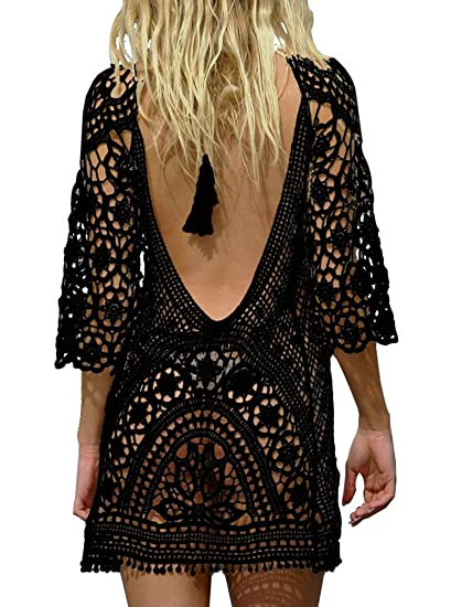 e419a90c96 PINKMILLY Women s Bathing Suit Beach Cover up Crochet Lace Backless Bikini  Swimsuit Dress Free Size Black
