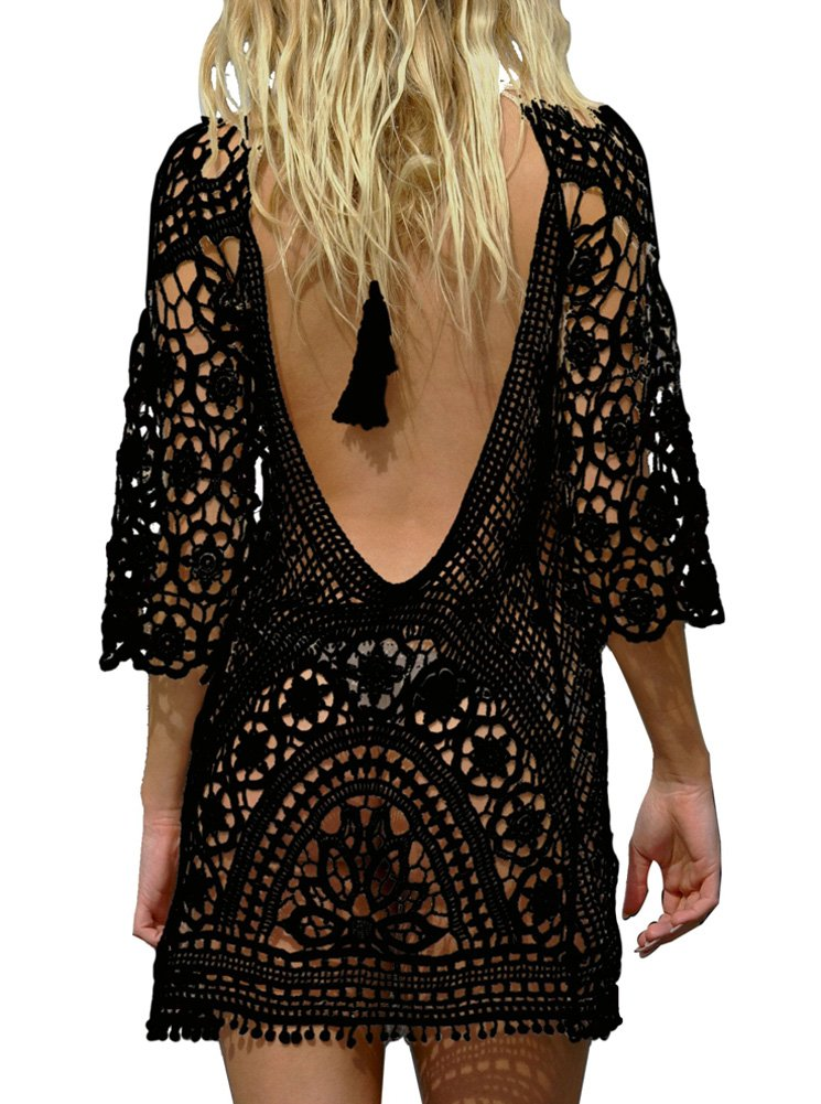 PINKMILLY Women's Bathing Suit Beach Cover up Crochet Lace Backless Bikini Swimsuit Dress Free Size Black